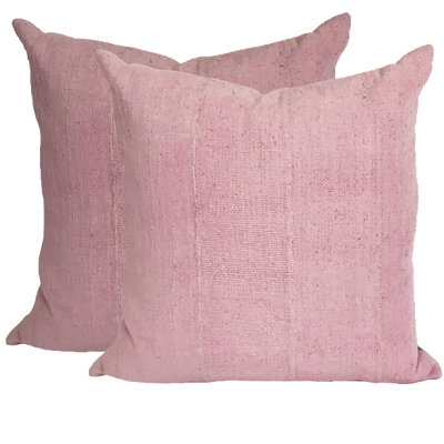 African Pink Mud Cloth Pillow Covers (pair)