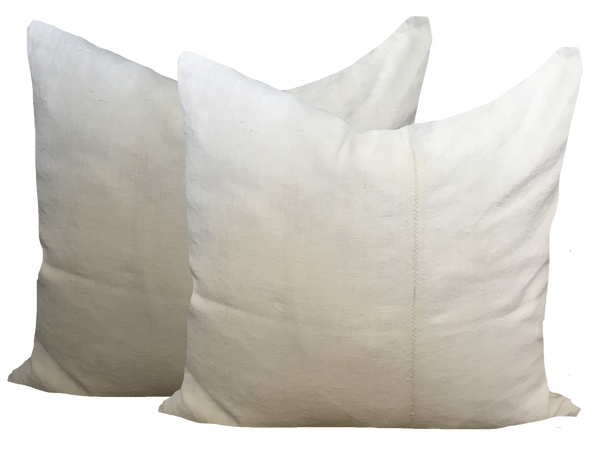 Vintage Linen Ivory Pillows (pair)