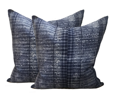 Found African Paisley Batik Indigo Pillow (pair)