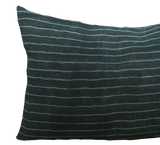 Vintage Peacock Stripe Hemp Pillow