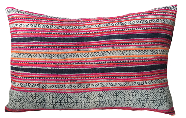 Vintage Hilltribe with Pink Embroidery Pillow