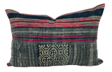 Found Embroidered Hmong Blue Pillow