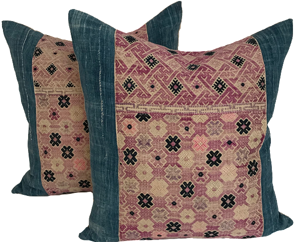 Pink Hmong and Indigo Pillows (pair)