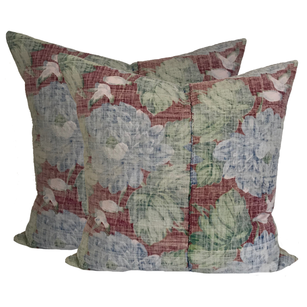 Faded Red Floral Batik Pillows (pair)