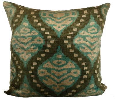 Ezine Ikat Green Pillow