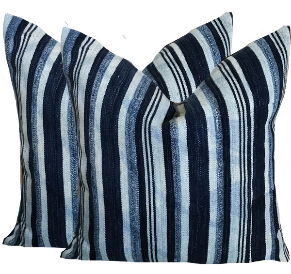 Vintage Beach Indigo Stripe Pillow (pair)
