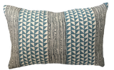 Aegean Stripe Sea and Indigo Pillow