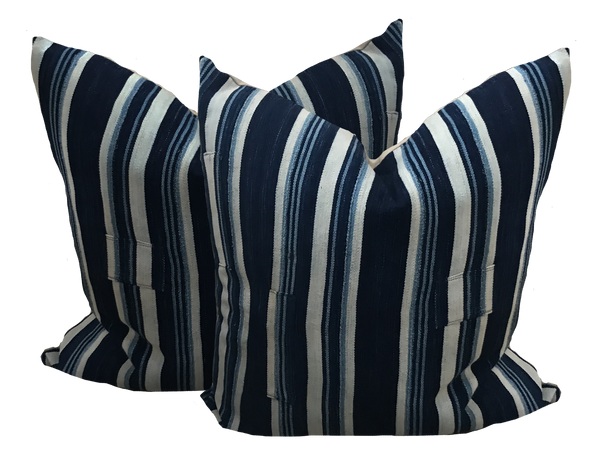 Vintage African Indigo Bold Stripe Pillow (pair)