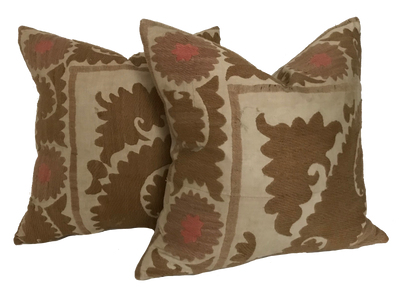 Found Embroidered Suzani Neutral Pillow (pair)