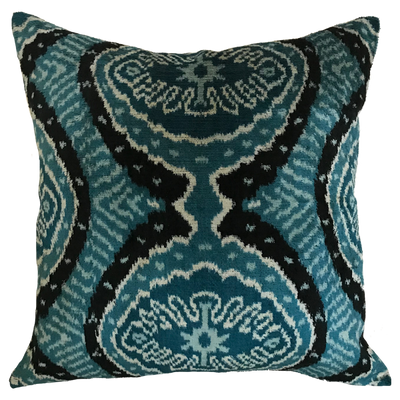 Burdur Velvet Ikat Blue Pillow