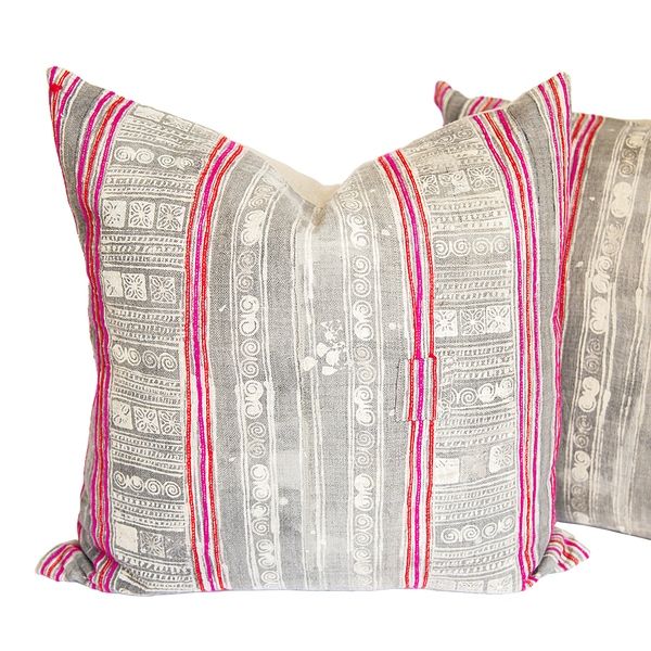 Vintage Pink Embroidery Pillows (pair)