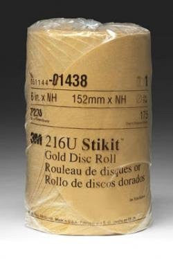 3M 1438 6-220A-Go-175 6 in. Stikit Gold P220 Grade Sanding Discs- 175 Disc Roll - Pro Tool Shopper
