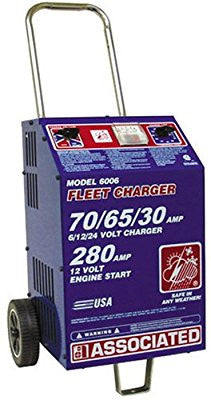 Associated Equipment 6006 6/12/24V 70/65/30 Amp Charge 280 Amp Cranking Assist Charger with Wheels - Pro Tool Shopper