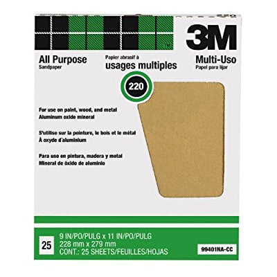 3M Pro-Pak Aluminum Oxide Sheet for Paint and Rust Removal, 25 sheets, 220-Grit, 9-Inch by 11-Inch - Pro Tool Shopper