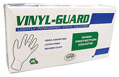 SAS Safety 6507 Vinyl-Guard Lightly Powdered Disposable 4 Mil Gloves, Medium, 100 Gloves by Weight - Pro Tool Shopper