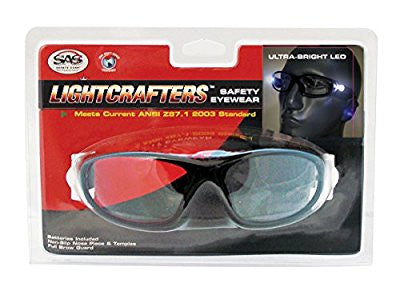 SAS Safety 5420-20 LED Inspectors Readers Safety Glasses, Black Frame, 2.0 Magnification Lens - Pro Tool Shopper