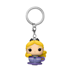 Front image of The Mad Tea Party Attraction and Alice pop keychain