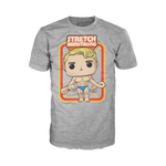 Front image of grey short sleeve Stretch Armstrong tee