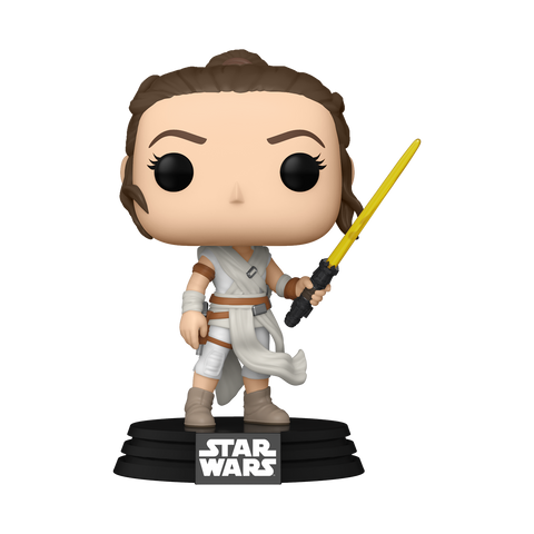 Front image of Rey with Yellow Lightsaber - The Rise of Skywalker pop