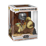 Mando on Bantha With Child In Bag - The Mandalorian