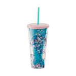 Front image of the The Little Mermaid cup and straw