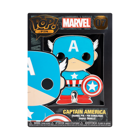 Front box image of Captain America pop pin