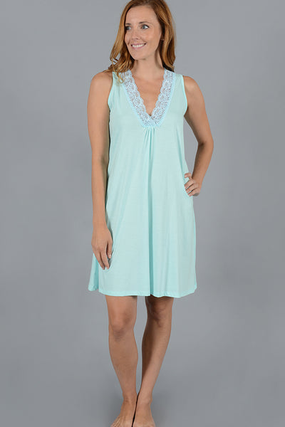 Lace Trim Tank Dress
