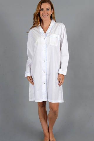 Woven Cotton Button Down Nightshirt