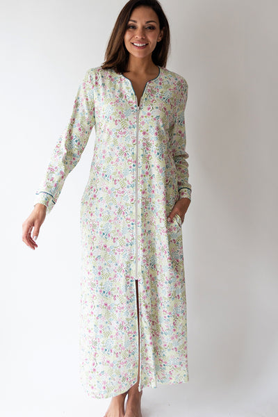 English Floral Long Zip Robe