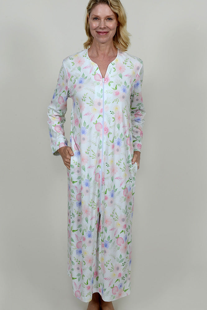 Floral Print Long Zip Robe