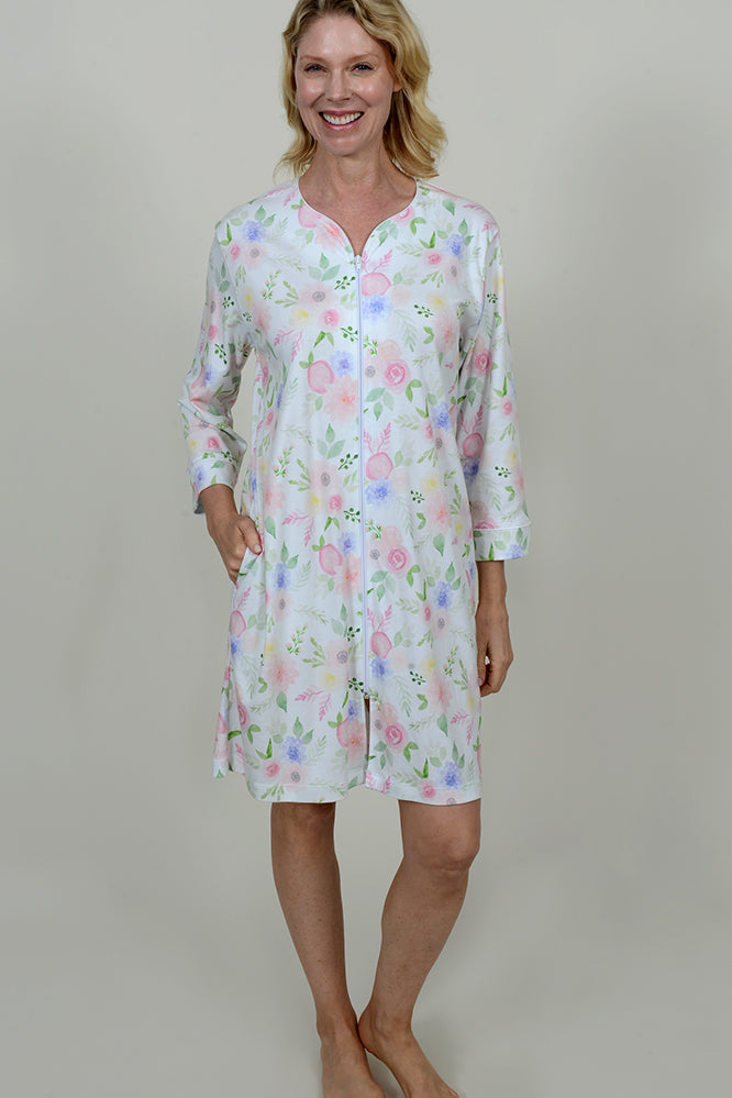 Floral Print Short Zip Robe