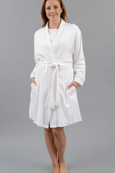 Polka Dot Kimono Robe with Set-in Belt