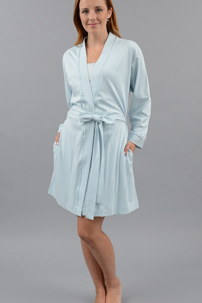 Classic Short Kimono Robe with Set-in Belt
