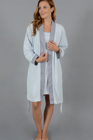 Stripe Collection Short Kimono Robe w/set in Belt
