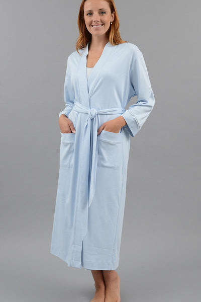 Classic Long Kimono Robe with Set-in Belt