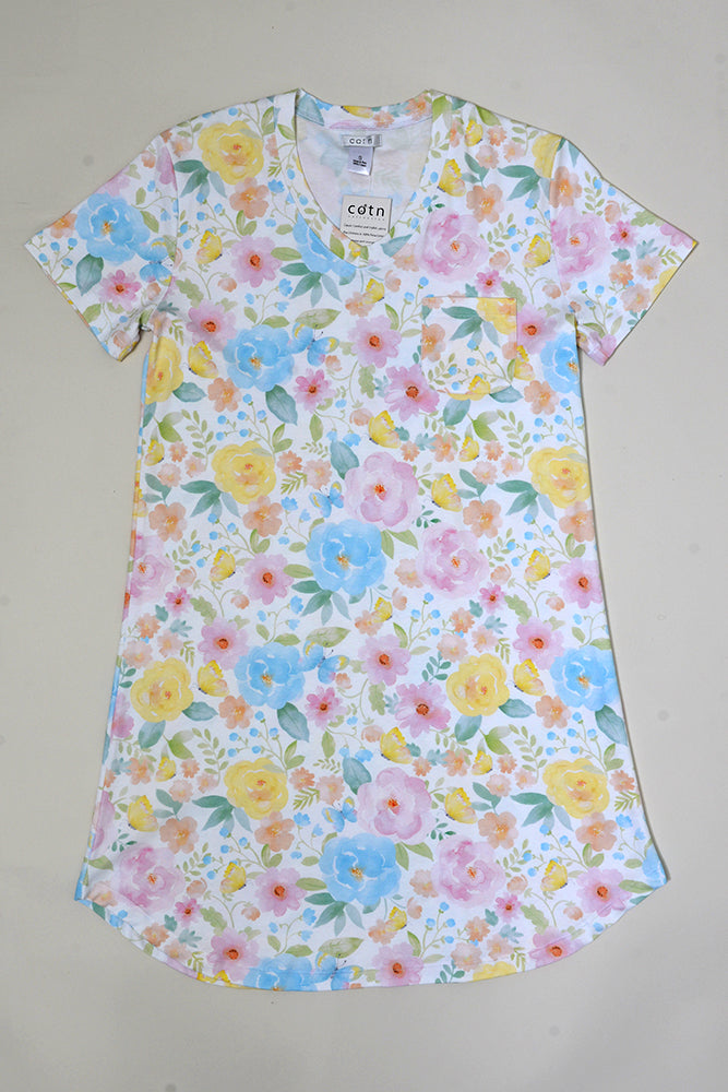 Butterfly Floral Short Sleeve V-neck Nightshirt