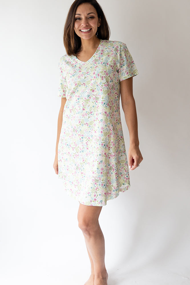 English Floral S/S V-neck Nightshirt