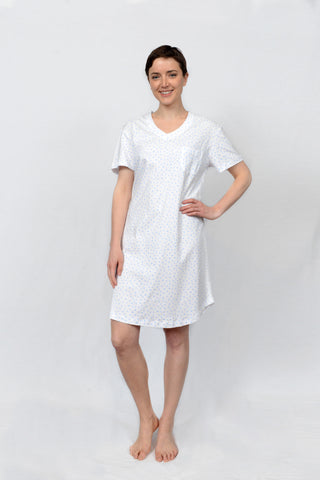 Floral Dot Short Sleeve V-neck Nightshirt