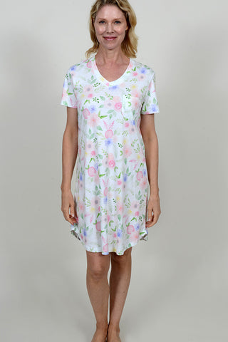 Floral Print Short Sleeve V-Neck Nightshirt