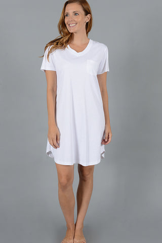 Polka Dot Short Sleeve V-neck Nightshirt