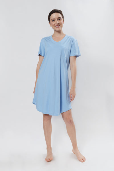 Classic V-Neck Short Sleeve Gown