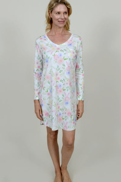 Floral Print Long Sleeve V-Neck Nightshirt