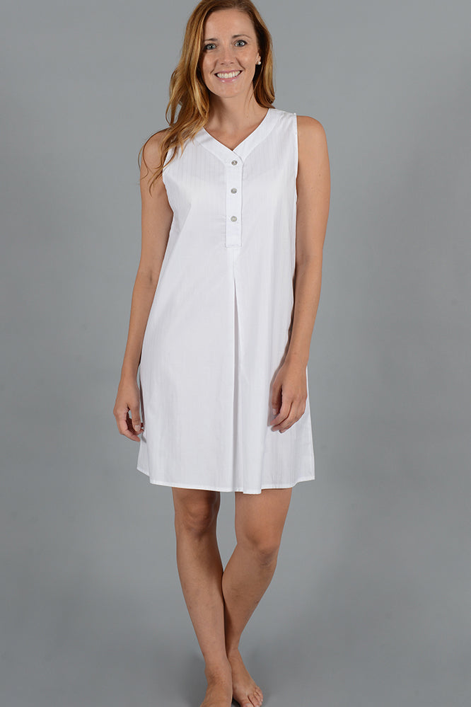 Woven Cotton Sleeveless Henley Dress