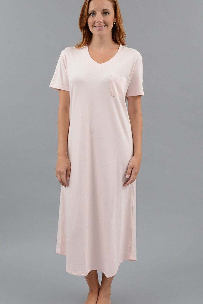Short Sleeve V-Neck Long Nightgown – Cotn Collection