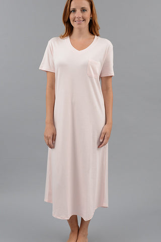 Short Sleeve V-Neck Long Nightgown