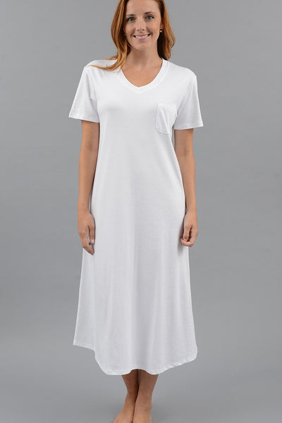 Classic Short Sleeve V-Neck Long Nightgown