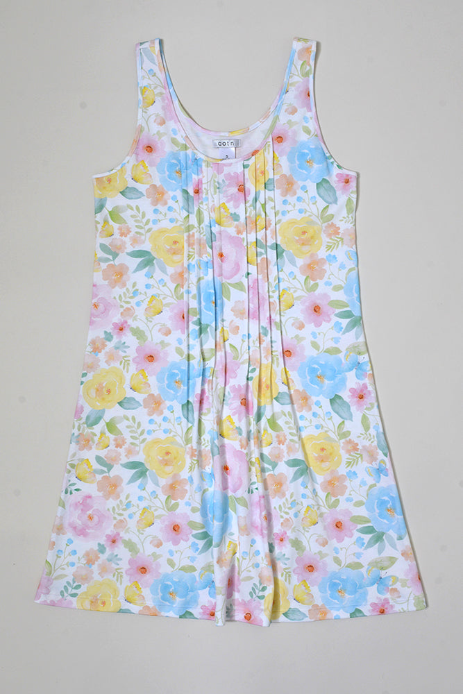 Butterfly Floral Short Pleated Tank Nightdress