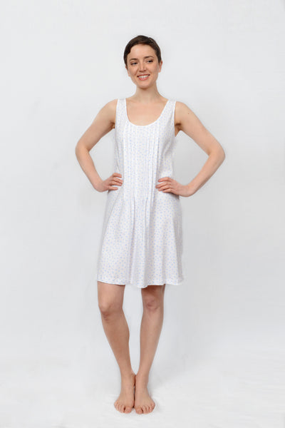 Floral Dot Pleated Short Tank Nightdress