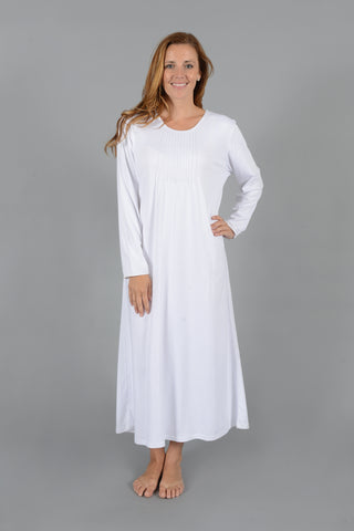 Classic Pleated Long Sleeve Nightgown