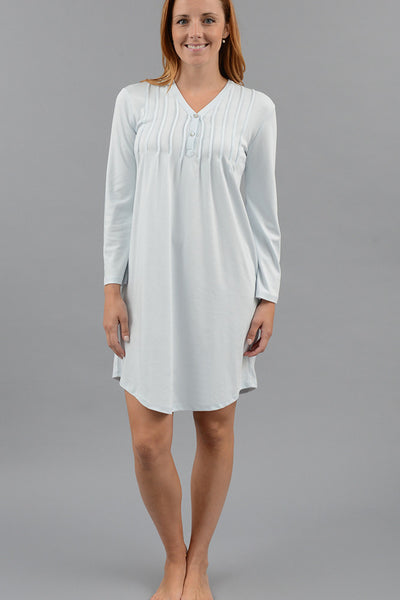 Classic Pleated Henley Nightshirt